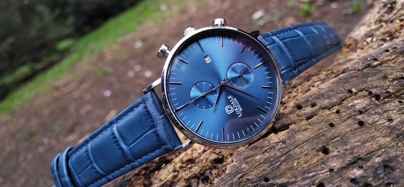 20mm Moc Croc Top Grain Leather Strap - Blue