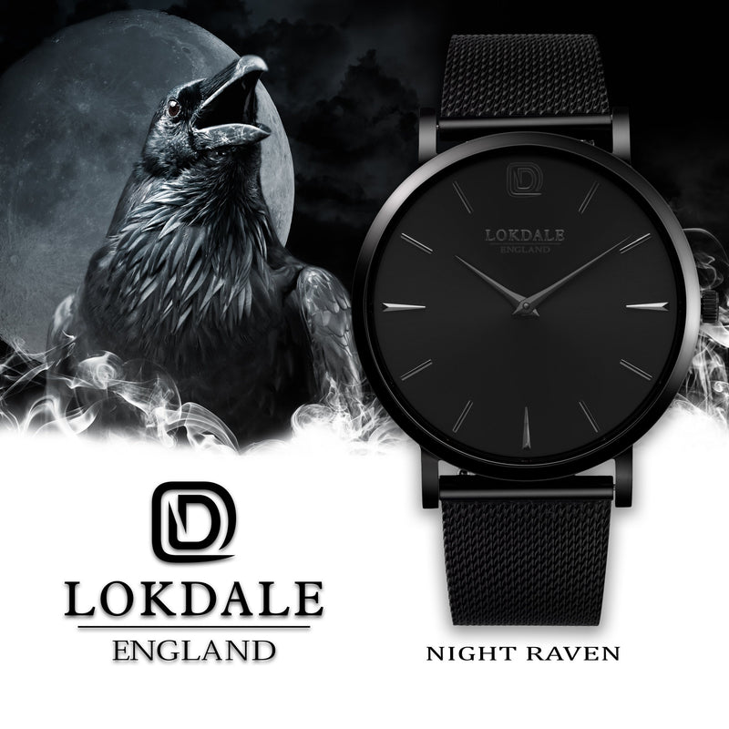 Men's Black 316L Stainless Steel Watch - Night Raven DARK SKIES LOKDALE LTD