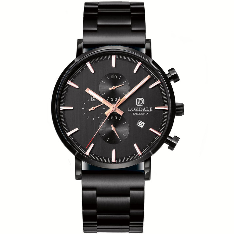 Men's Black Textured 316L Stainless Steel Link Watch - Red Kite DARK SKIES LOKDALE LTD