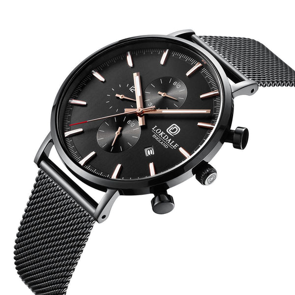 Men's Black Textured 316L Stainless Steel Watch - Red Kite DARK SKIES LOKDALE LTD