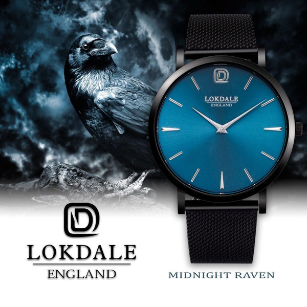 Mens Black Watch 316L Stainless Steel - Midnight Raven DARK SKIES LOKDALE LTD