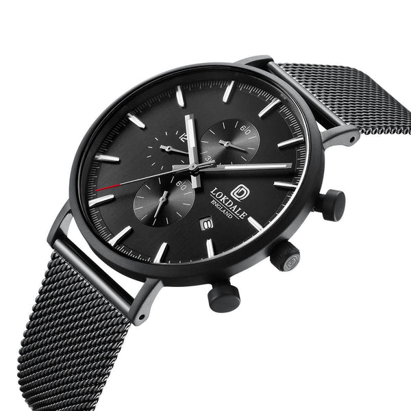 Men's Matt Black Chronograph 316L Stainless Steel Watch - Goshawk DARK SKIES LOKDALE LTD