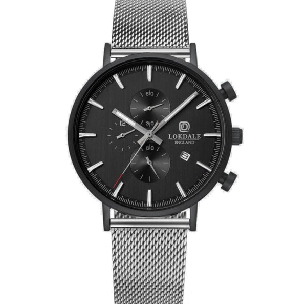 Men's Matt Black Chronograph 316L Stainless Steel Watch - Goshawk Silver DARK SKIES LOKDALE WATCHES