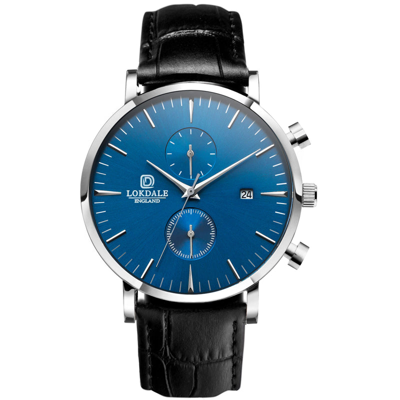 Nuthatch Chrono MC Black - Silver/Blue 316L Stainless Steel - 42MM LOKDALE WATCHES