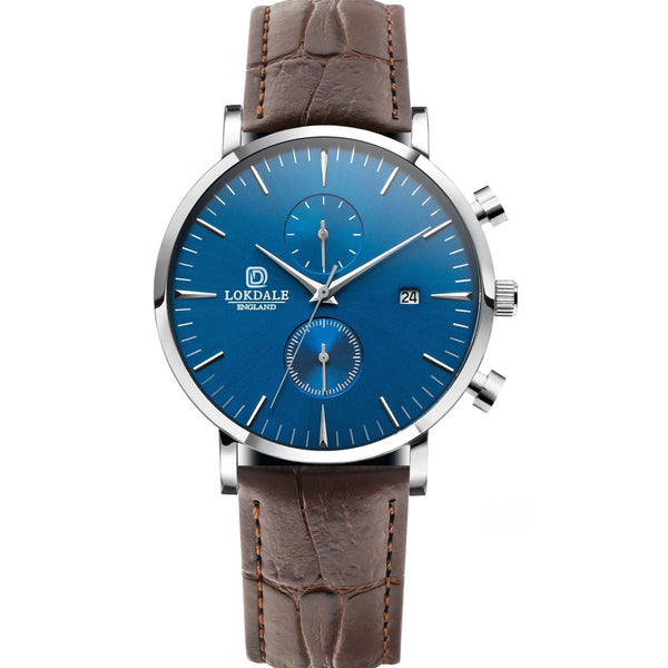 Nuthatch Chrono MC Brown - Silver/Blue 316L Stainless Steel - 42MM LOKDALE LTD