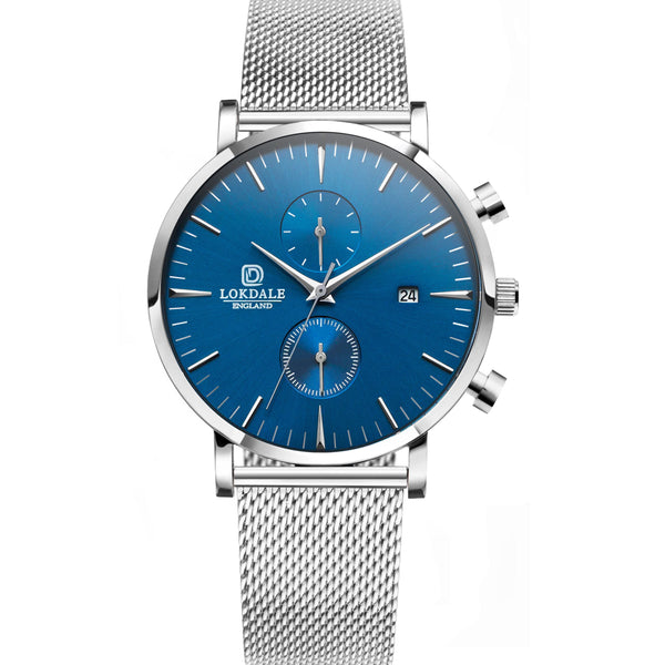 NUTHATCH CHRONO Silver/Blue 316L Stainless Steel - 42MM DARK SKIES LOKDALE LTD