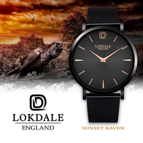 Sunset Raven Black/Rose Gold 316L Stainless Steel - 40MM DARK SKIES LOKDALE LTD