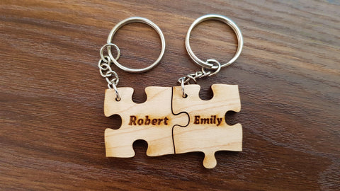 Wooden puzzle keychain with keyrings