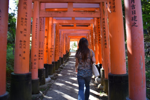 Walking the Inari Shrine Torii path