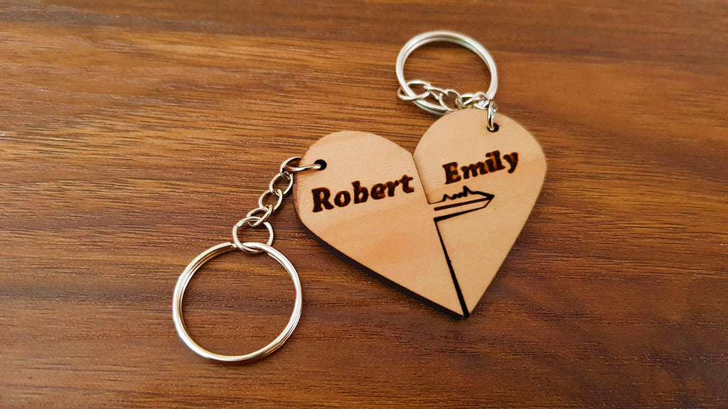 Key to My Heart - Personalize Your Own Wooden Heart Keychains - Knock On Wood Co