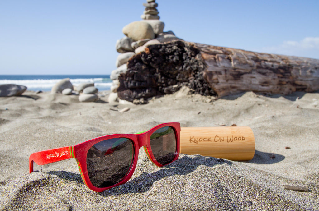 dark wooden sunglasses for the beach