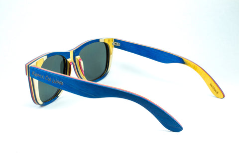 blue wooden polarized shades