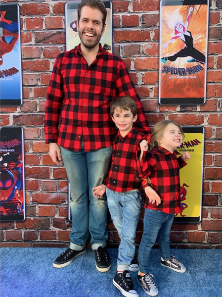 Perez Hilton and Kids in Matching Flannel Shirts by Squad Style