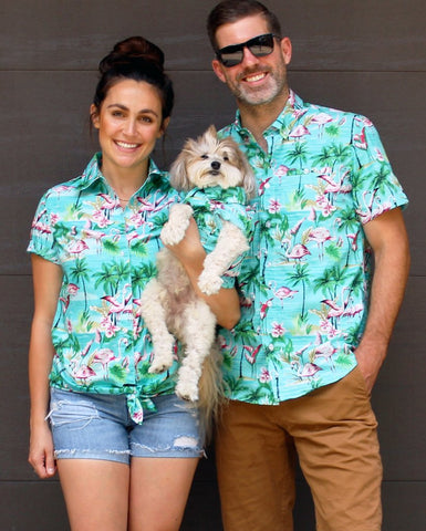 Flamingo Fresh BBQ Shirt - Matching Sizes for Dogs + Humans