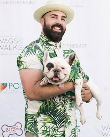 Matching Set - Havana Palms BBQ Shirt | Matching Leaf Print Hawaiian Shirts for Dogs and People by Dog Threads x Squad Style