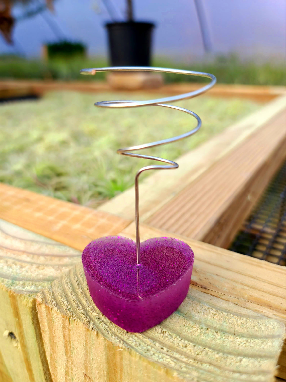 Purple Glitter Heart Plant Holder