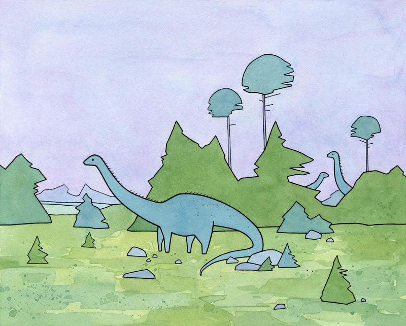 Dinosaur illustration series: Diplodocus Sauropod Art Print