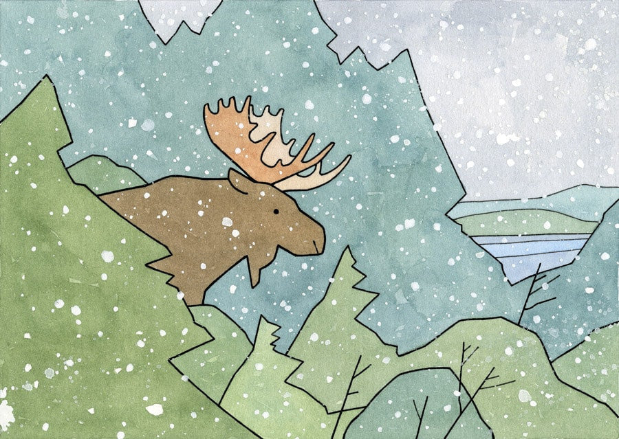 Whimsical Winter Moose Art