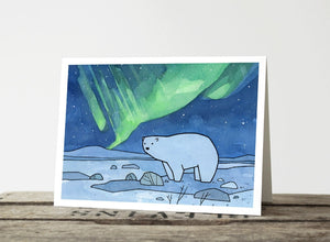 Polar Bear and Northern Lights Christmas Cards