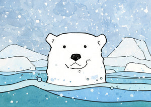 Polar Bear Watercolor Illustration, Winter Holiday Card