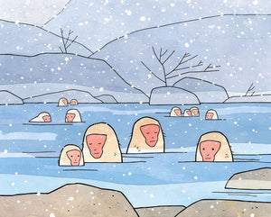 Japanese Snow Monkeys illustration