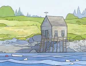 Vinalhaven Maine Boathouse Landscape Art Print