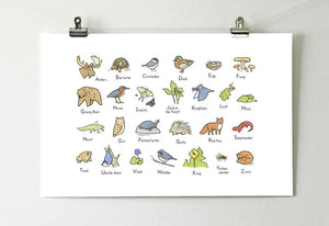 Alphabet Art Print for the Woodland Nursery