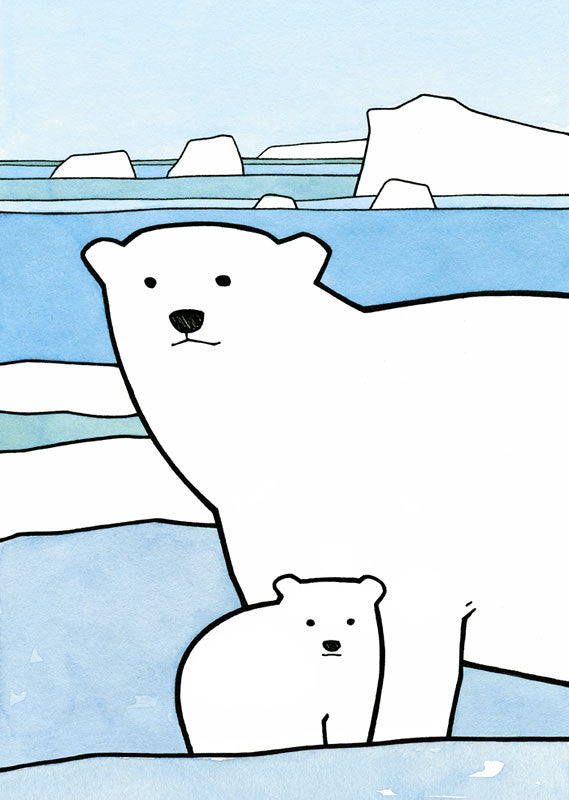 polar bear cub and mother art