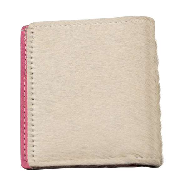 White and pink calf hair bifold