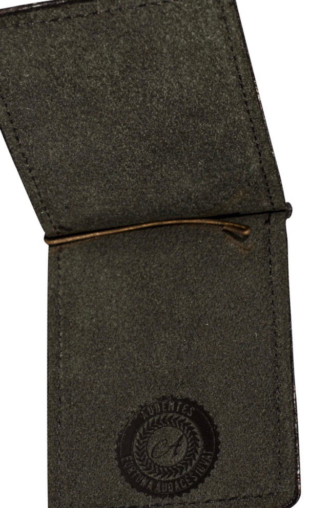 Black matte moneyclip black stitching