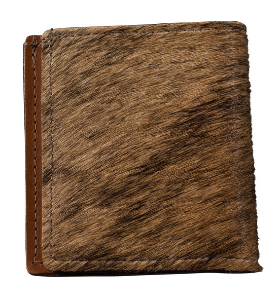 Speckled hair and tan leather bifold wallet