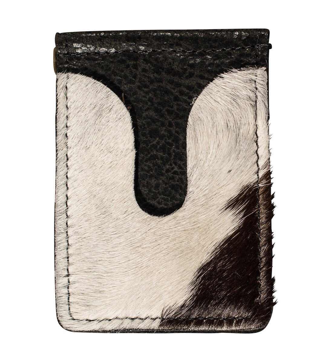 Black and white calf hair money clip