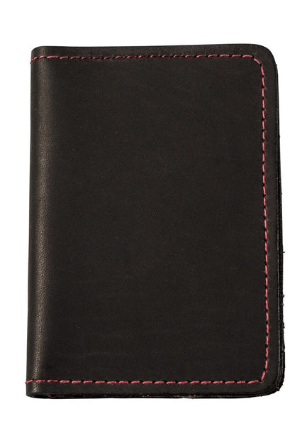 black matte wallet with red stitch