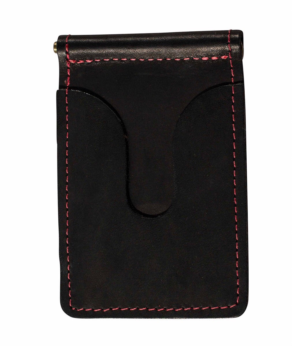 BLACK LEATHER MONEY CLIP WITH RED STITCHING