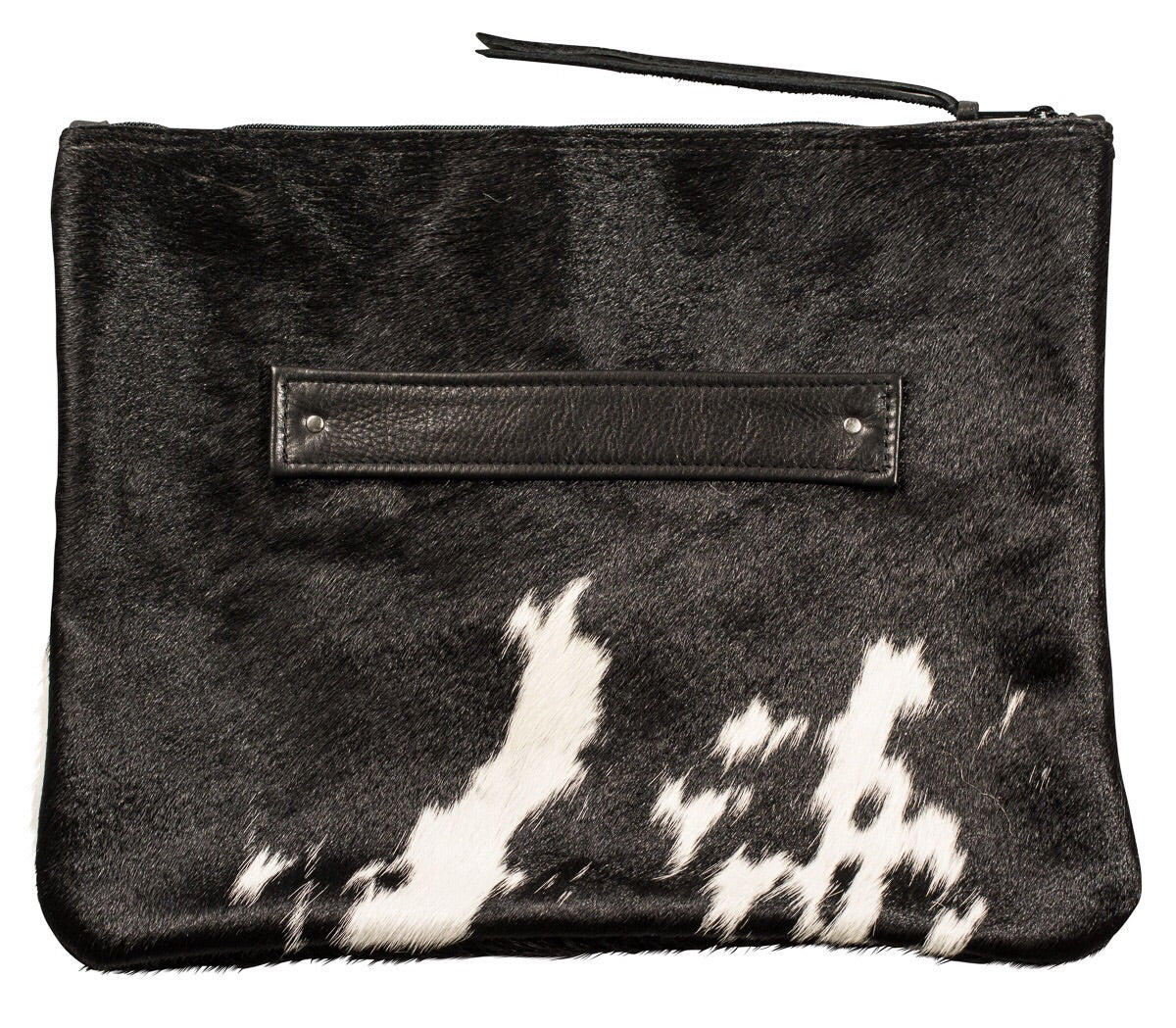 XL Oversize black and white calf hair clutch