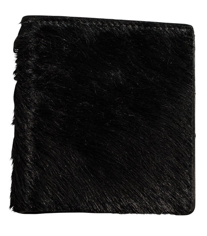 Black hair black matte bifold wallet