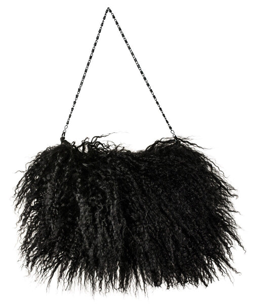 black Mongolian lamb bag