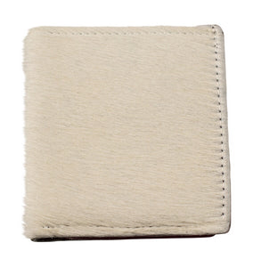 White hair and white leather bifold wallet