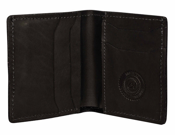 calf hair wallet black matte bifold