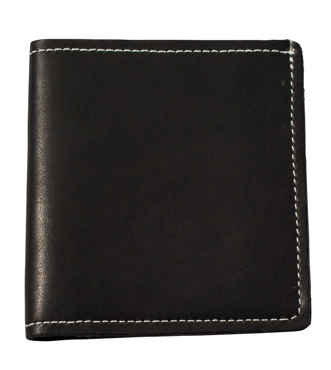Black matte leather and white stitching bifold wallet
