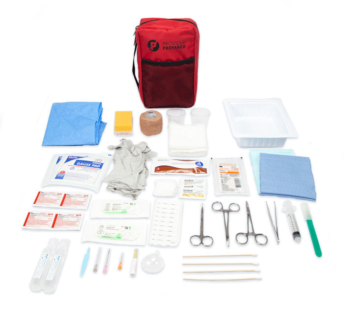 Compact Suture Kit, Sutures, needles, drapes, Steri-Strips, Suturing Instruments, Syringe,