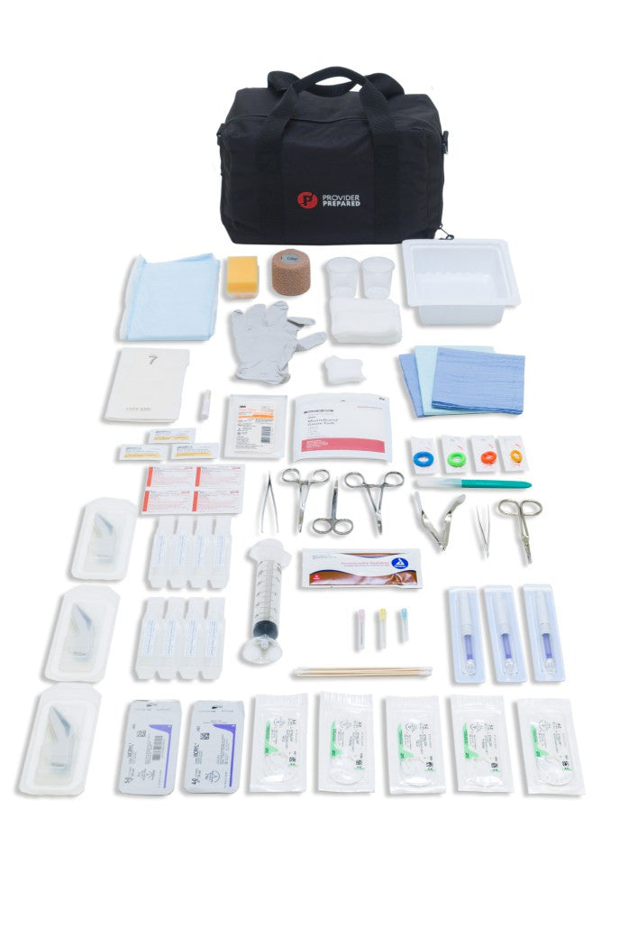 Sutures, Dermabond, Steri-strips, suture tray, laceration tray, needles, drapes, syringe, gauze, suturing instruments, needle driver, forceps, suture scissors, stapler, staple remover