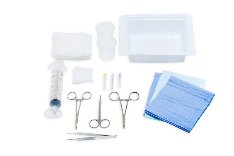 suture tray, laceration tray, needles, drapes, syringe, gauze, suturing instruments, needle driver, forceps, suture scissors