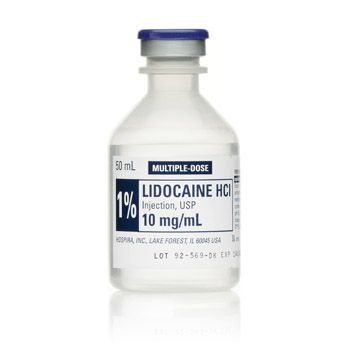 Single, 50 ml, multiple-dose bottle of 1% Injectable Lidocaine