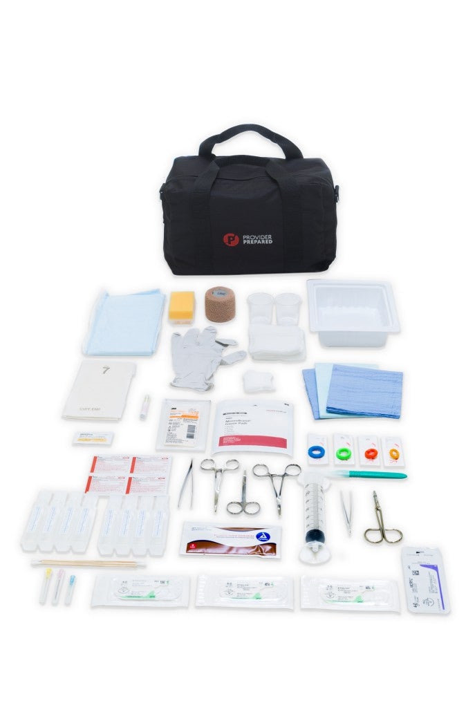 Sutures, needles, drapes, Steri-Strips, Suturing Instruments, Syringe, Splash Guard