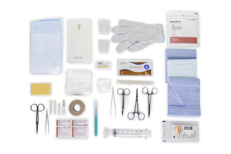 needles, sutures, drapes, suturing instruments, Steri-strips