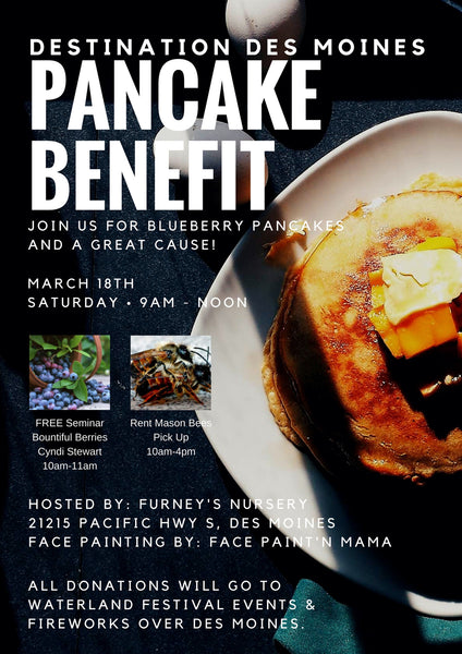 Blueberry Pancakes and Mason Bees! Save the date March 18th