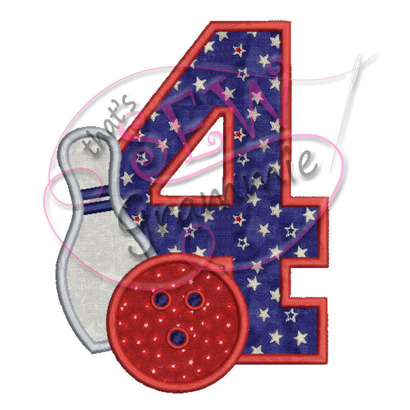 Bowling #4 Applique Design