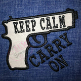 Keep Calm Carry On Applique Design