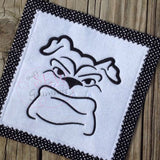 Bulldog Face Embroidery Design